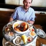 Chef David Bradley samples seafood fare to garner inspiration for his future menu
