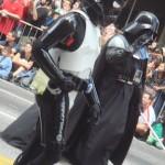 Darth Vader and a Storm Trooper march through Atlanta.