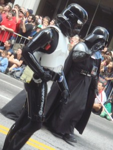 Darth Vader and a Storm Trooper march through Atlanta.