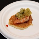 Shrimp & Grit Cake with pickled tomato relish from Leon's Full Service