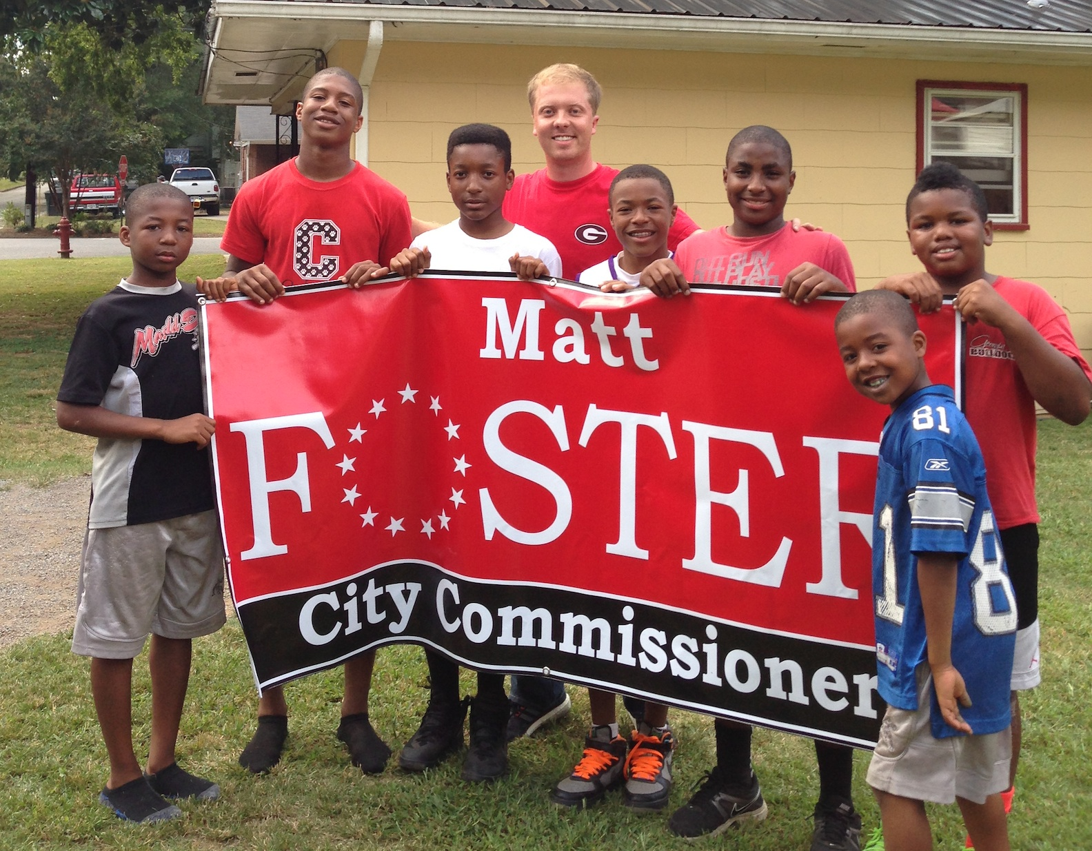 Matt Foster with a group of his students in Cedartown, Ga.