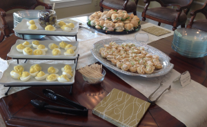 Chicken Caesar Salad Cups with Deviled Eggs and Mini Sandwiches. A perfect spread for a Southern bridal shower.
