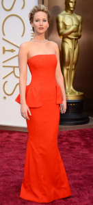 Jennifer Lawrence rocking a red Dior.