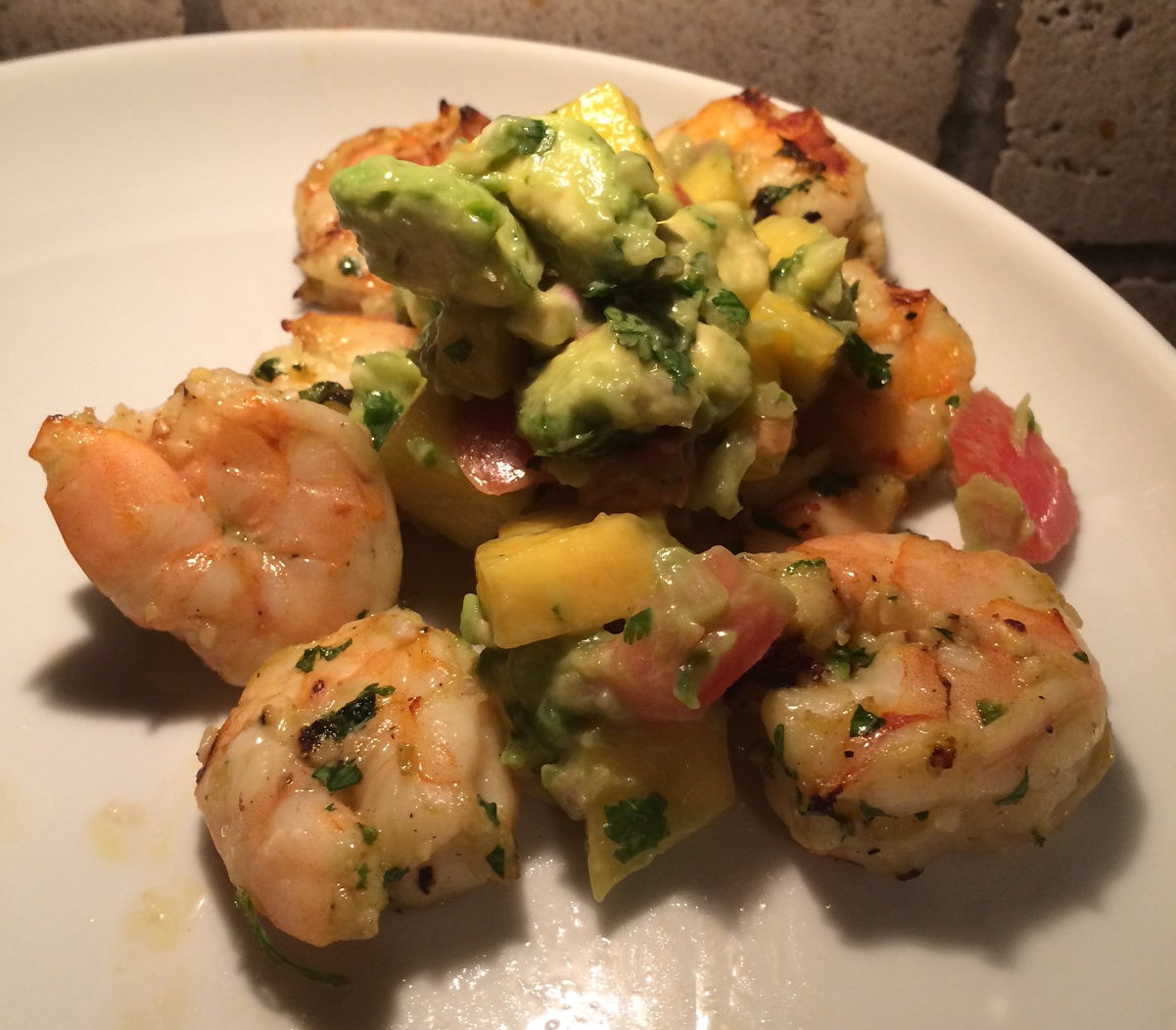 Shrimp with fresh avocado & mango salsa.
