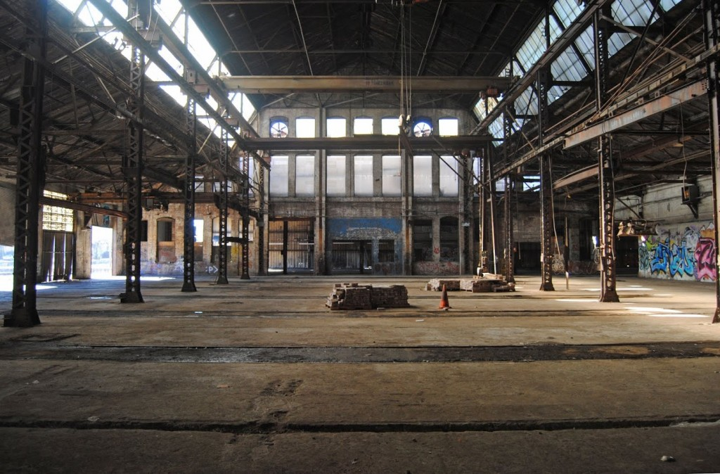The historic Pullman Yard is covered with graffiti and was a location for the film Catching Fire. width=