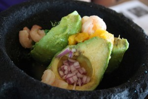 The Yucatan guacamole topped with fresh shrimp.