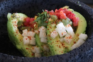The Baja guacamole includes kiwi, jicama, strawberry, mango, mint and chile arbo